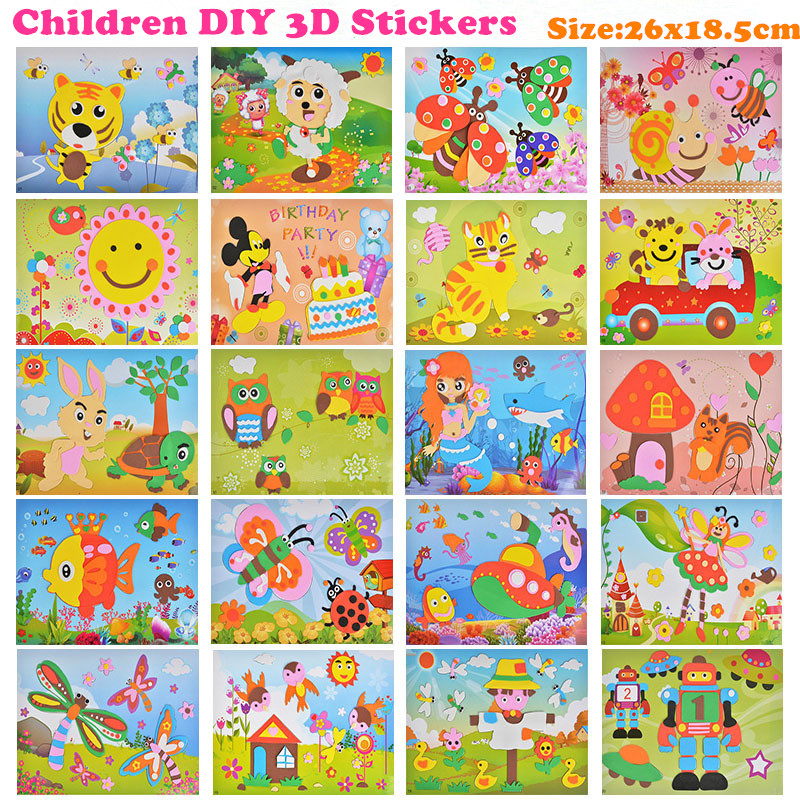 EVA 3D Stickers 3D Pasting Paper Children Handmade DIY Materials Kids DIY Craft Toys Baby Kindergarten Puzzle Toy Stereo Sticker