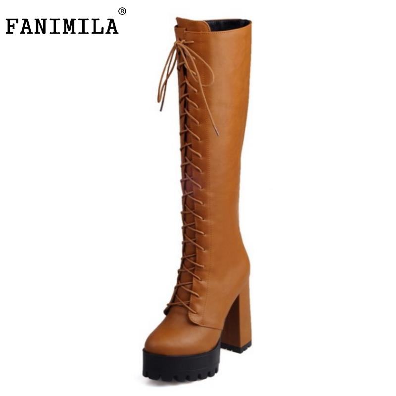 ФОТО Women Platform Round Toe Knee Boots Female Gladiator Lace Up Thick Heel Botas New Fashion High Heels Shoes Woman Size 33-43