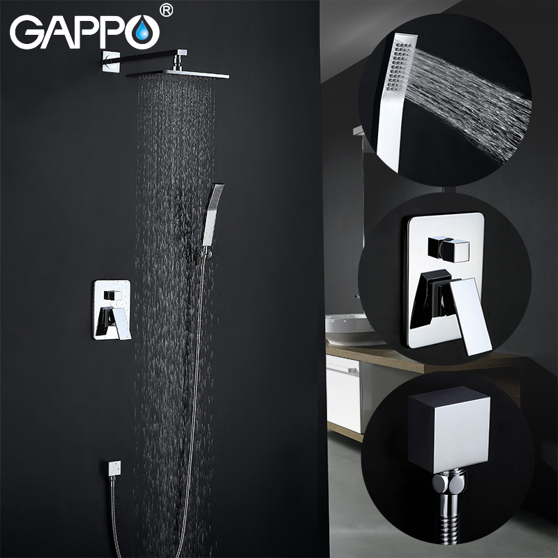 GAPPO Shower Faucets wall mounted rainfall shower set waterfall bathroom concealed shower mixer taps bath tub