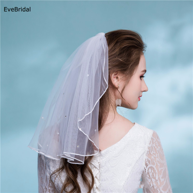 1 Layer white Ivory Crystals Shoulder Length Satin Ribbon Edge Wedding Bridal Veil with Comb