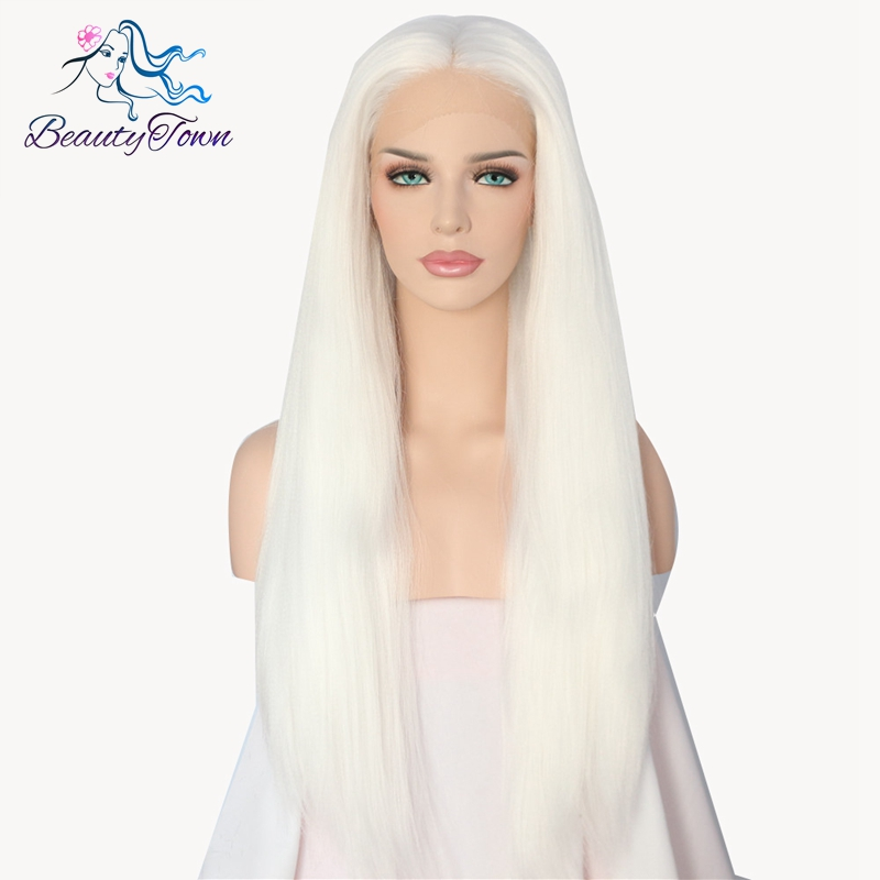 Beauty Town Hand Tied Long Milk white Color Yaki Straigt