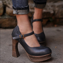2016 women shoes spring genuine leather fashion platform shoes low-top  thick high heels shoes lacing shoes OL outfit shoes