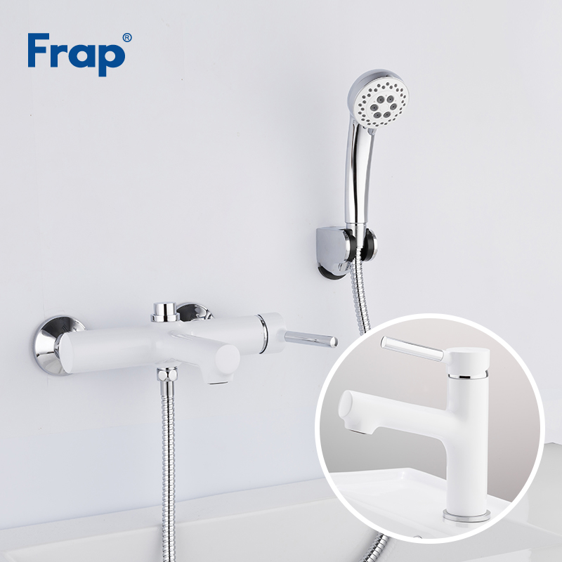 Frap High Quality White Bathroom Shower Faucets Set Bathtub Faucet Mixer Tap With Basin Taps Sink