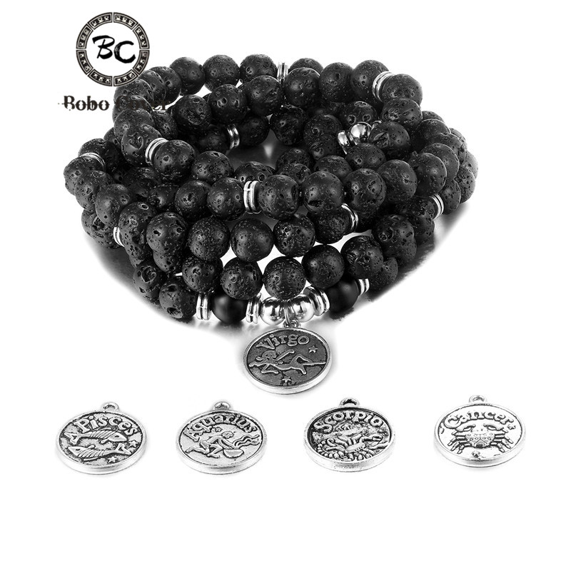 Fashion Women's bracelet Lava stone Black beads with 12 constellation Buddha Charm Yoga Bracelets for women 108 mala necklace