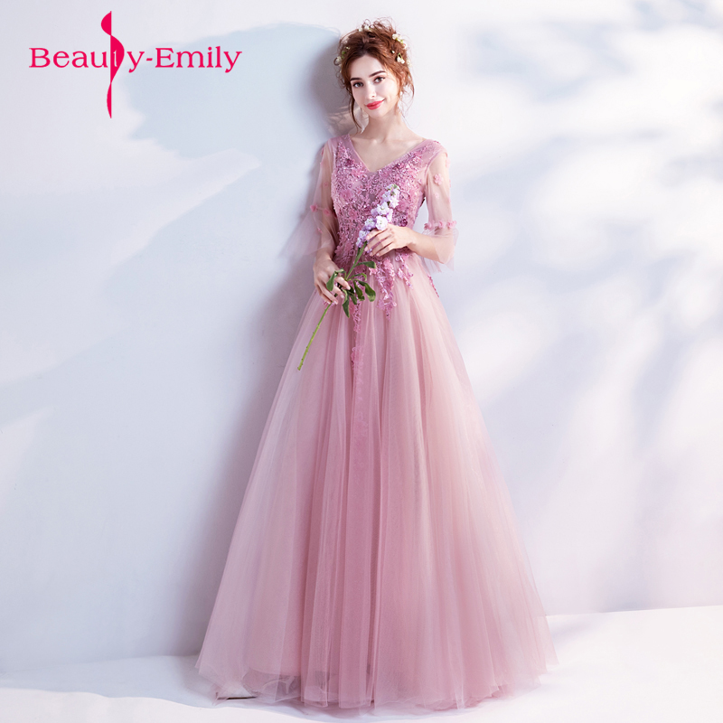 Beauty Emily Fairy A Line Decorated with Flower Tull Blue Prom ...