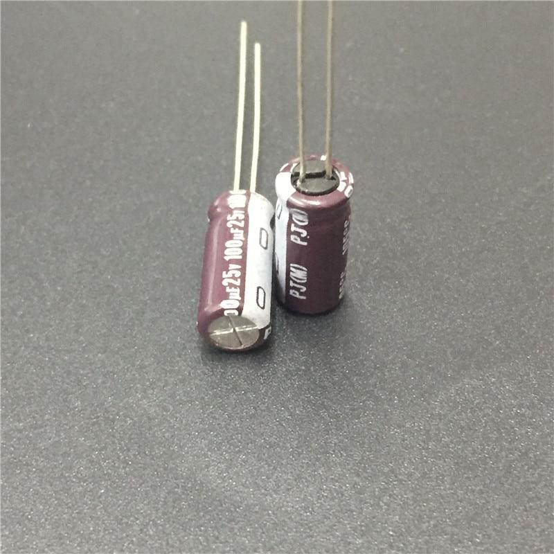 10pcs 100uF 25V NICHICON PJ Series 6.3x15mm 25V100uF Low Impedance Long Life Aluminum Electrolytic Capacitor