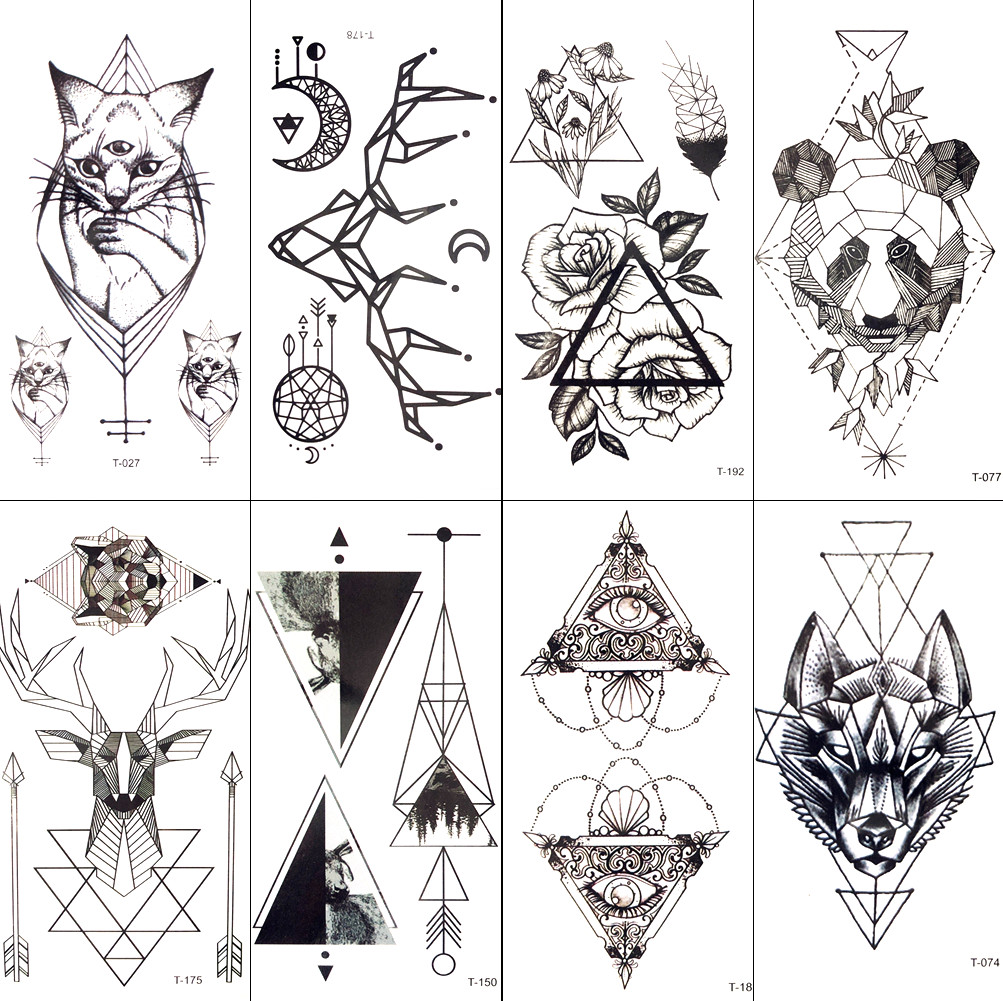 1e75da4d71047 Black Geometric Cat Temporary Tattoo Moon Deer Rose Tattoo Stickers Women  Party Body Arm Art Fake