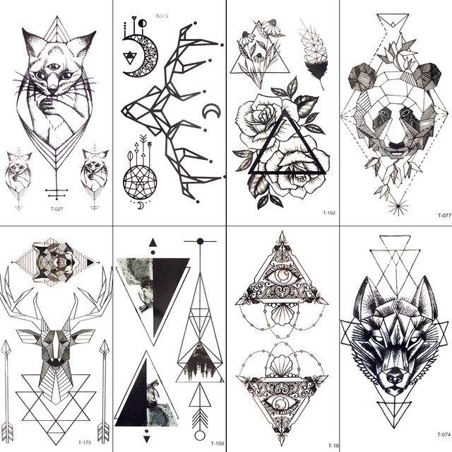 Black Geometric Cat Temporary Tattoo Moon Deer Rose Tattoo Stickers