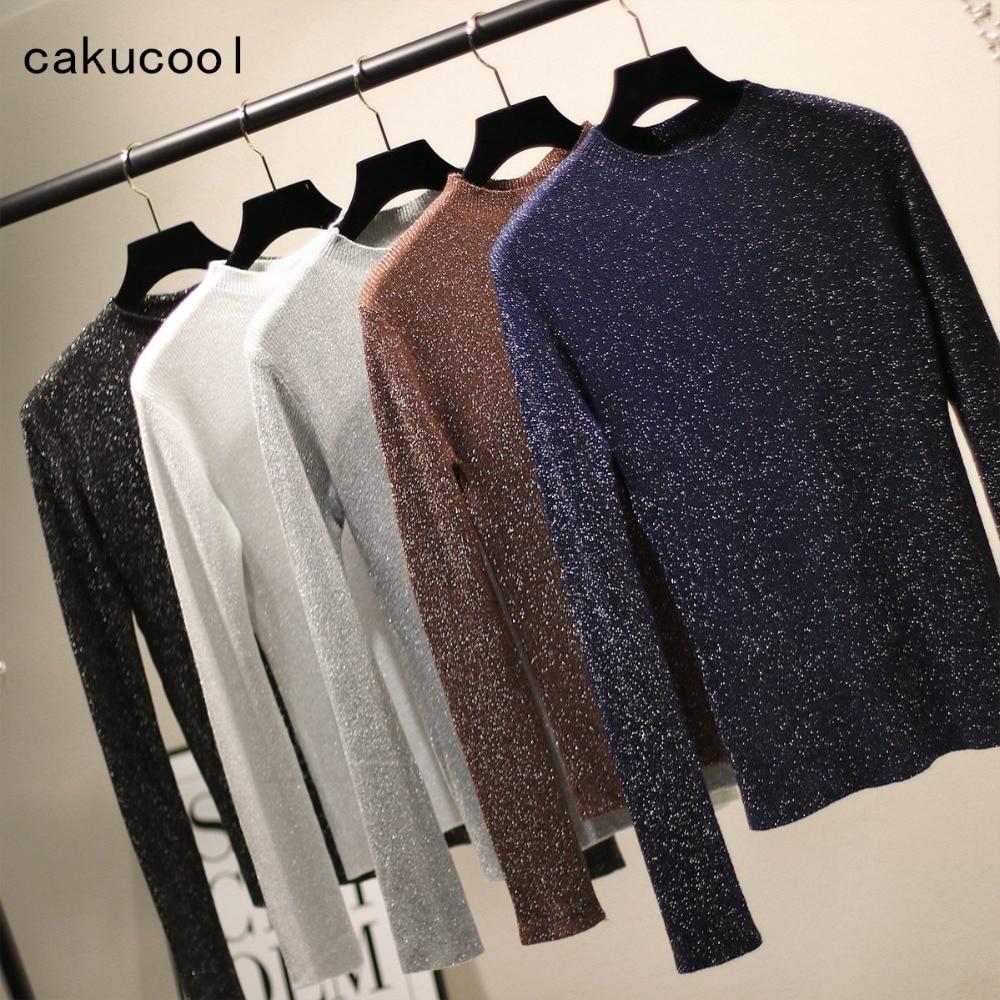 0c3a6670c4b Cakucool Knit t Shirt Women Long Sleeve Round neck Slim Tee Tops Silver  Lurex Bling Korean Pullover Tshirt Femme Plus 6colors
