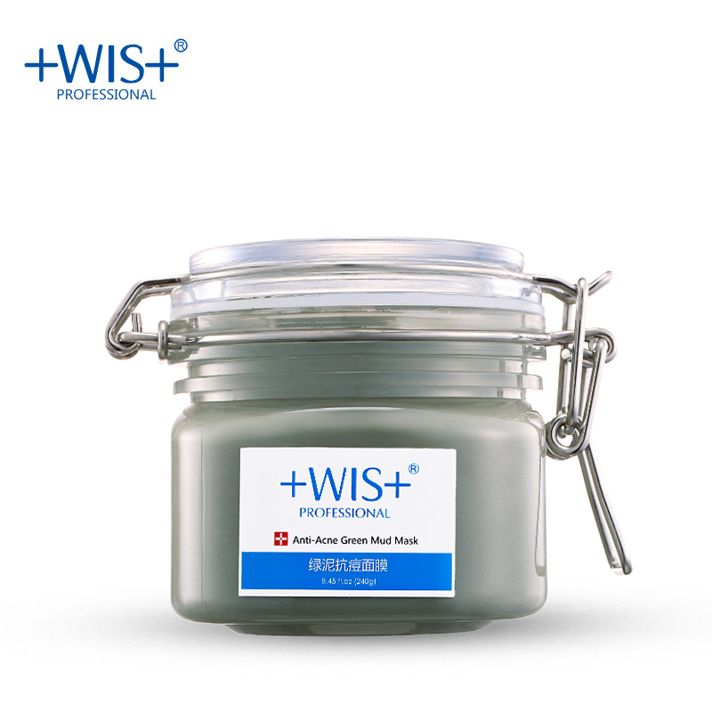 WIS chlorite  dead sea green mud mask treatment acne skin care 240g scar remover facial mask  anti bleakhead face vocanical clay china dead sea yuncheng saline lake black mud cosmetics bani firming lotions