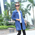 Plus Size 2015 Fashion Spring Autumn Women Vestidos Casual High Street Denim Jacket Long Loose Holes Women Coat Outwear B307