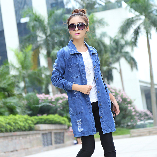 Plus Size 2015 moda primavera otoño mujeres Vestidos Casual High Street Denim Jacket largo flojo Holes Women Outwear B307