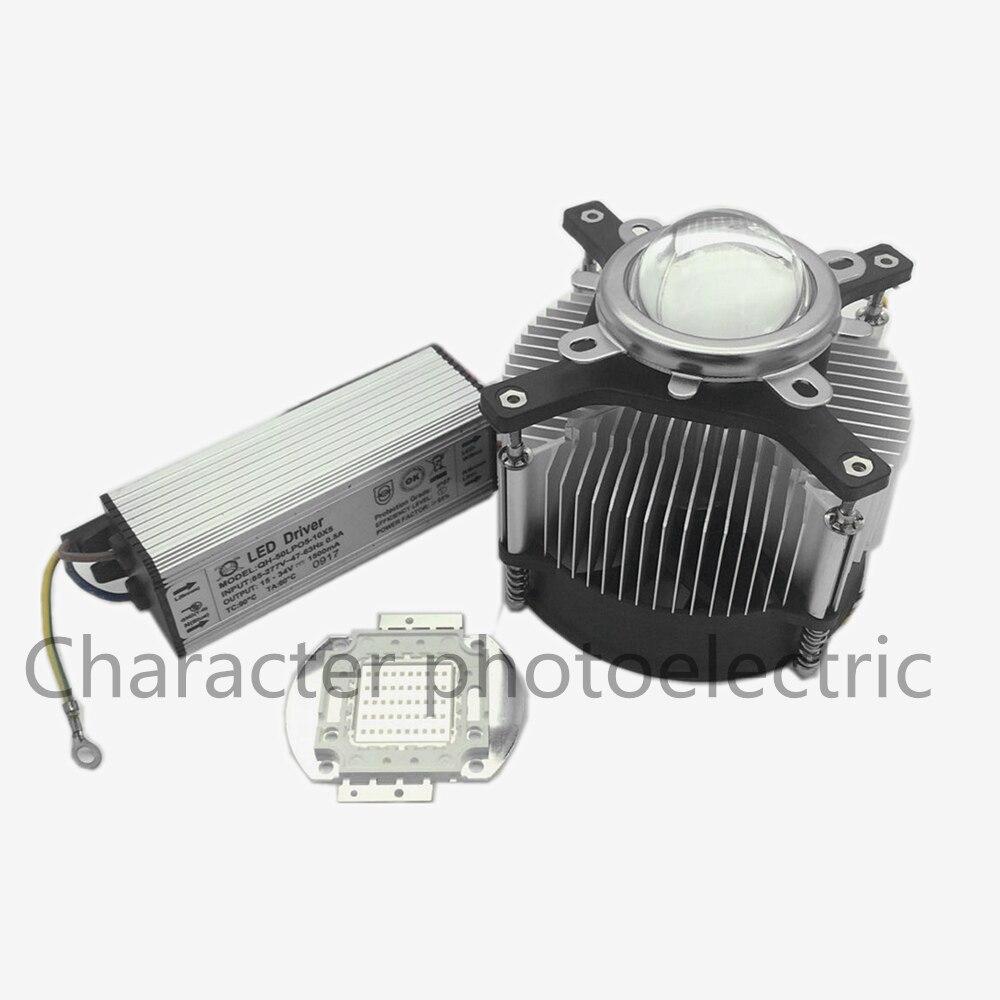 Купить с кэшбэком LED 50Watt 395nm -400nm UV Ultra Violet High power LED +50W IP67 Waterproof Driver AC 85-265V +heatsink,lens LED  Kit