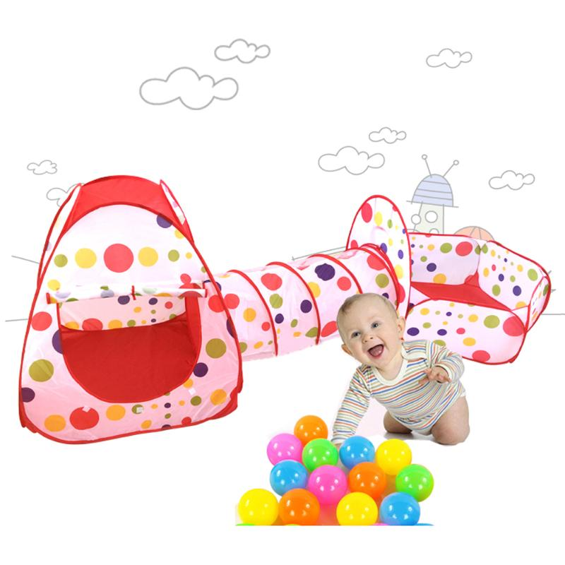 Portable Pool-Tube-Teepee Baby 3pc Large Pop-up Play Tent Foldable Children Play House Crawling Tunnel Ocean Ball Playing Tents