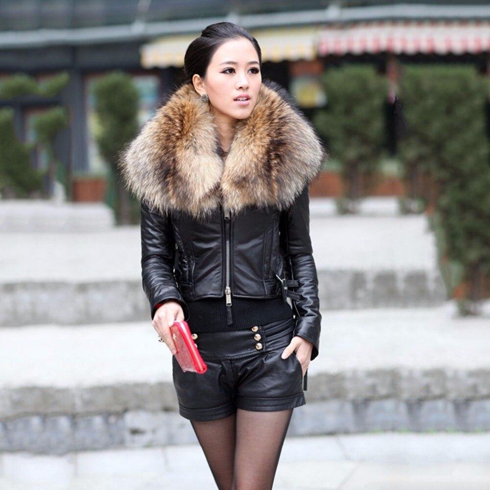 2018 new fashion genuine sheepskin leather jacket with real big raccoon fur collar natural short jacket warm autumn winter coats