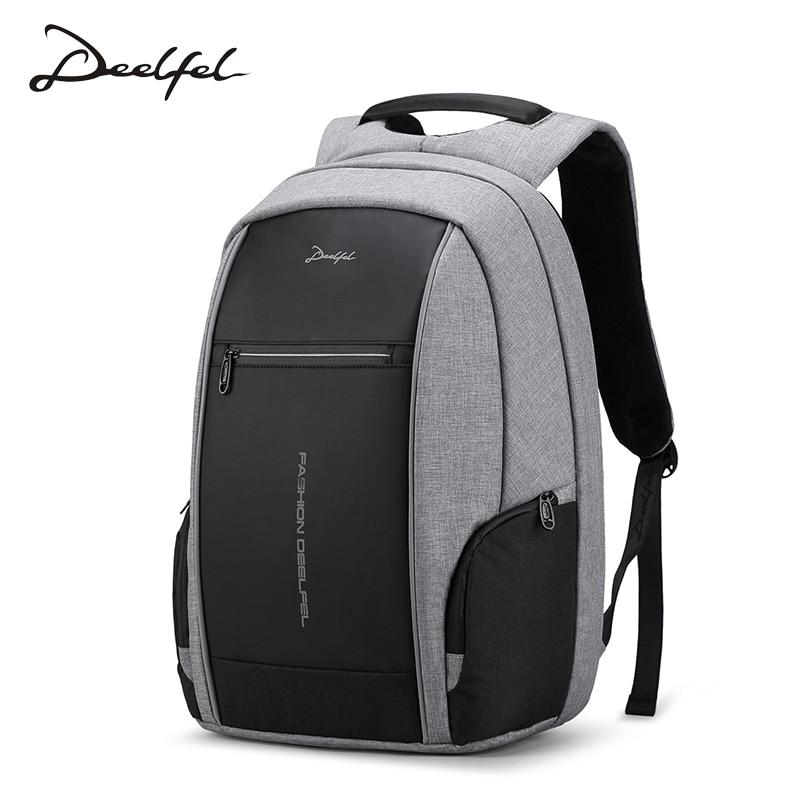 DEELFEL 2018 New Backpack Men Laptop Backpack for 15.6 inch Charging USB Port Computer Backpacks Male Waterproof Men Travel Bags