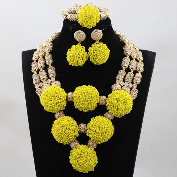 Fantastic Yellow Nigerian Beaded Bib Necklace Set Chunky Gold African Fashion Jewelry Set Bridal Jewelry WD992 multicolor beaded teardrop bib necklace