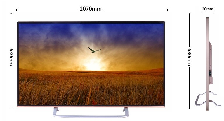 50in tv size