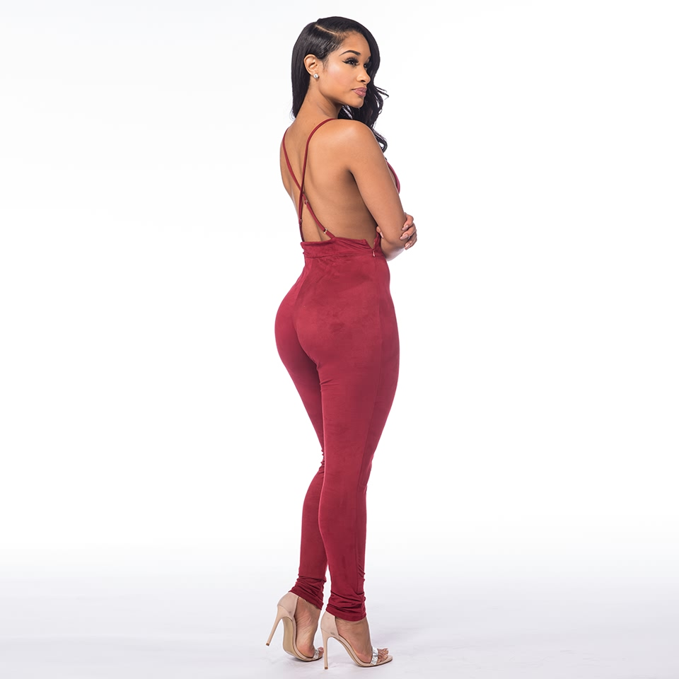 Sedrinuo Sleeveless Elegant Jumpsuit Fashion Bodycon Deep V neck Halter Cross Suede Sexy Club Jumpsuits and Rompers for Women 9
