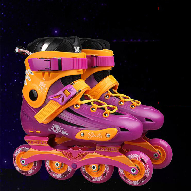 Pro Inline Speed Skates Flat Breathable Skating Shoes Unisex Complete roller skates adults skate shoes Adjustable size inline skates jump sports skate shoes for kids children jumper skating equipment orange pink size adjustable changeable roller page 5 page 3