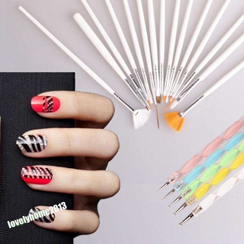 Fashion 20pcs Nail Brush Nail Art Design Painting Dotting Detailing ...