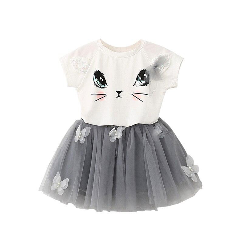 Newest Summer Fashion Style Girls Short-Sleeved Suit Clothing Girls Cartoon Kitten Printed T-shirt + Pompon Veil Skirt Butterfly