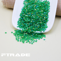 Wholesale 3 Sizes Resin Rhinestone Jelly Dark Green AB Flat Back Non Hotfix Stones For Nails