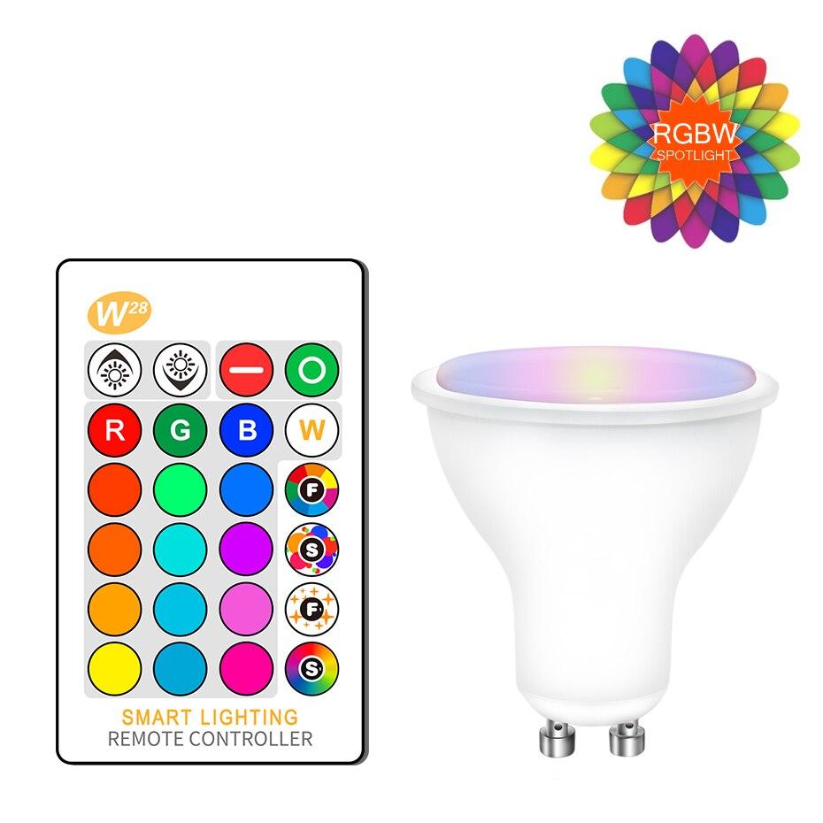 GU10 RGB Bulb Bombillas Led 8W GU10 RGBW RGBWW Led Spotlight RGB Dimmable White Warm White GU 10 Led Bulb 16 Colors With Remote gu longzhong led