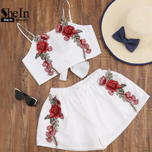 SheIn Summer Sexy Womens Sets Two Piece 2017 White Chiffon Sleeveless Rose Applique Tie Back Cami Top With Shorts