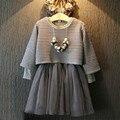 Primavera/verão do bebê roupas menina set lace crianças pano terno de manga longa arco crianças 2 pcs top dress
