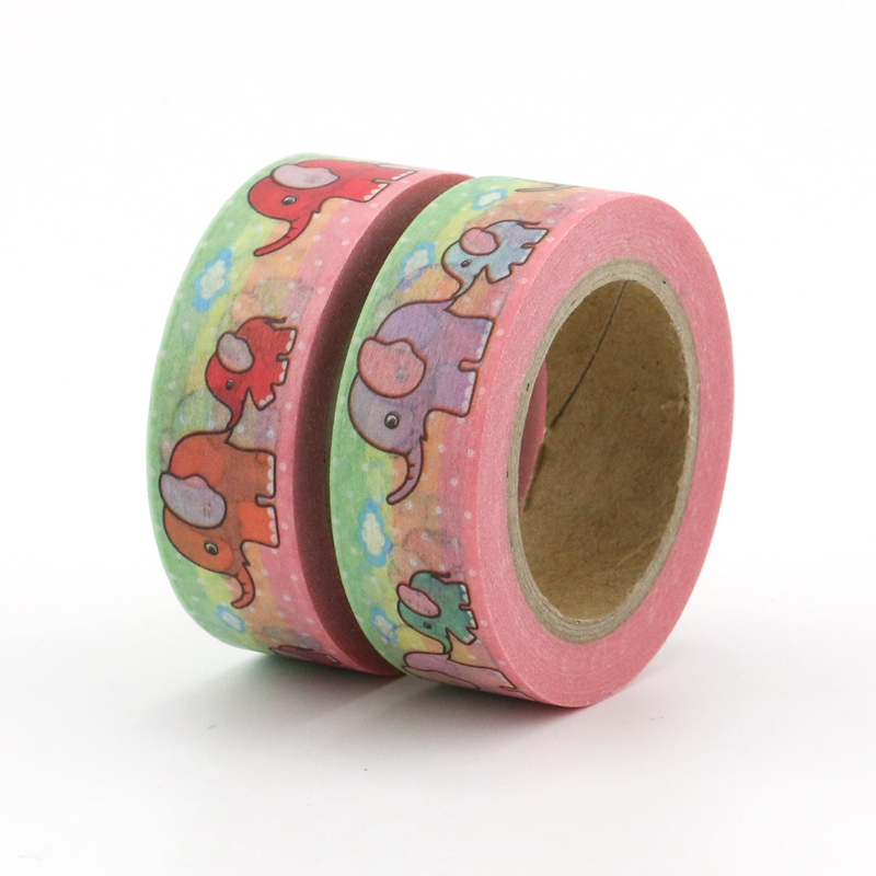 2PCS/lot Cute Elephant Baby Decorative Washi Tapes Paper DIY Scrapbooking Adhesive Masking Tapes 10m School Office Supply