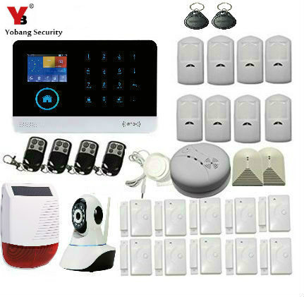 YobangSecurity Wireless Wifi GSM GPRS RFID Home Burglar Security Alarm System with Video IP Camera Wireless Solar Power Siren wireless smoke fire detector for wireless for touch keypad panel wifi gsm home security burglar voice alarm system