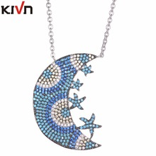 KIVN Fashion Jewelry Spiritual Blue eye Pave CZ Cubic Zirconia Womens Girls Bridal Wedding Pendant Necklaces Birthday Gifts