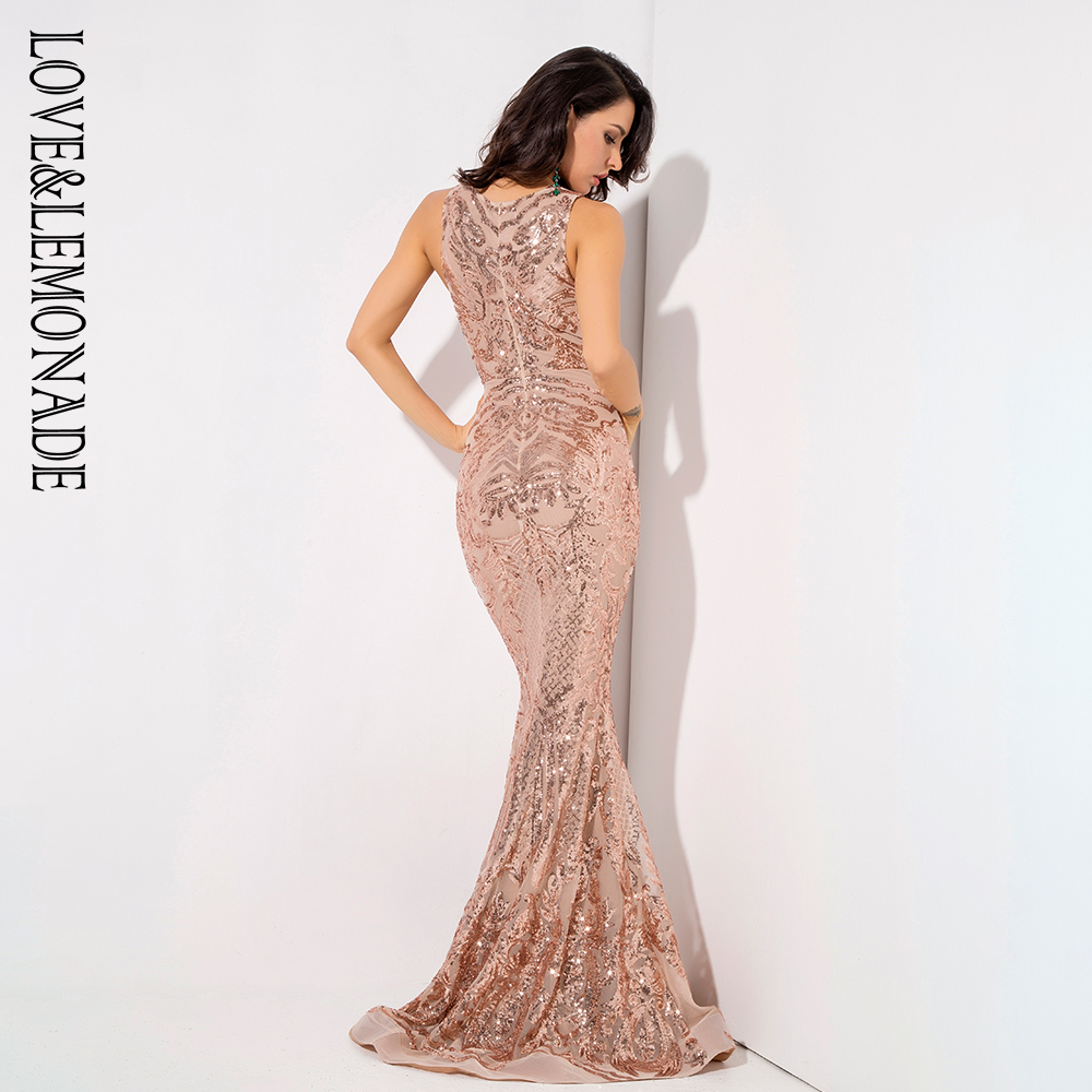 Love&Lemonade Deep V-Neck Rose Gold Geometric Sequins Mesh Lining Sleeveless  Dress LM81336 Autumn/Winter