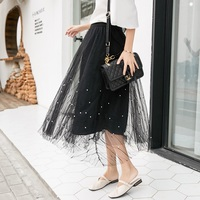 Pregnant women's skirt 2019 new mesh skirt beaded a word fairy skirt Korean fashion wild pregnant skirt