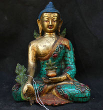Chinese Folk Fengshui Old Antique Copper Turquoise Gild Statue Medicine Buddha