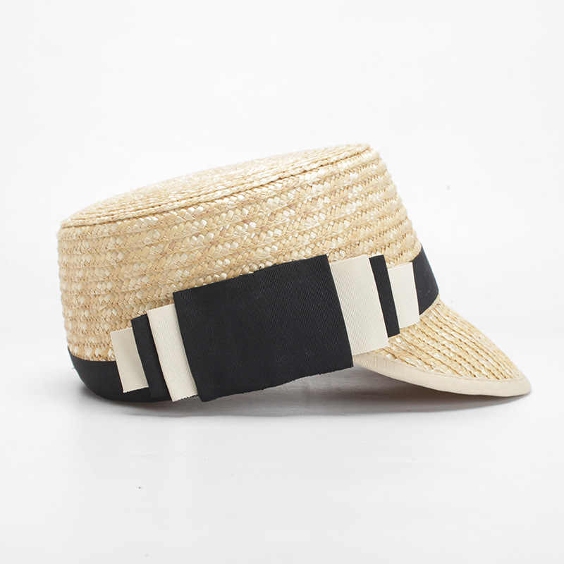 Fashion Eropa dan Amerika Baru Musim Panas Jerami Berjemur Topi untuk Wanita Buatan Tangan Visor Topi Wanita Pesta Makan Malam Topi Datar panama Hat
