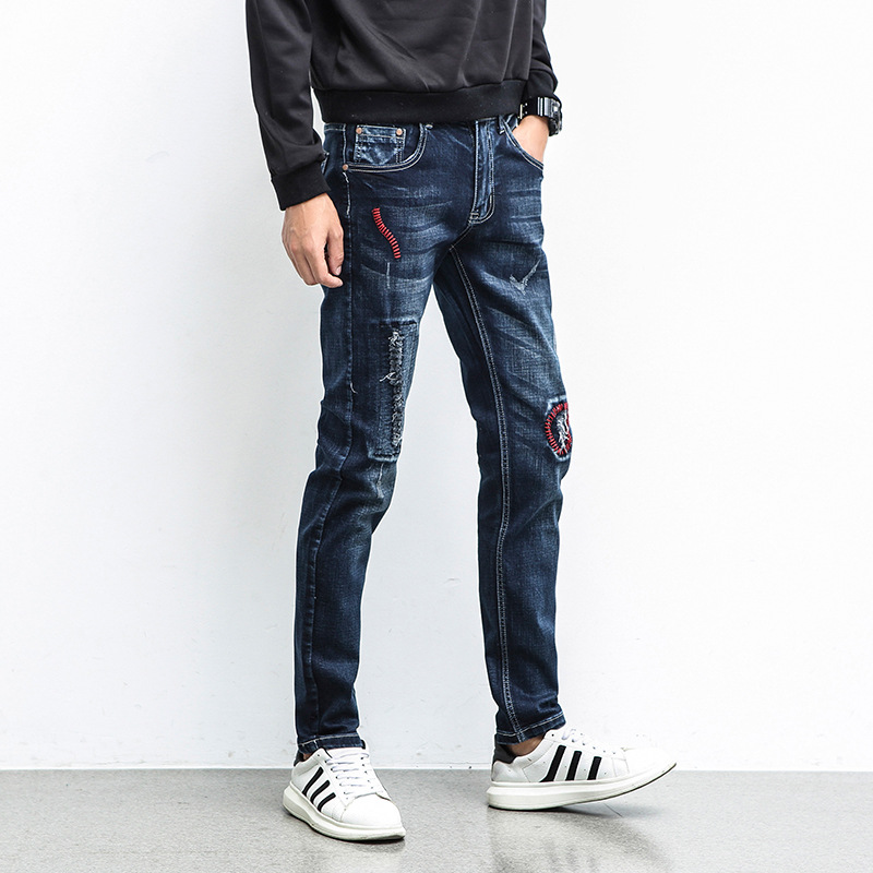 2018 men skinny jeans stretch Hole patches young feet wet pants