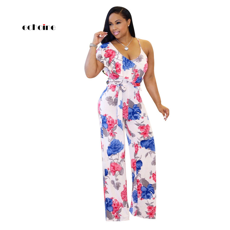 Echoine Women Fashion Jumpsuit Ruffles Irregular Neck One shoulder Floral Printed Sexy Spaghetti Strap Loose Long Pants Rompers