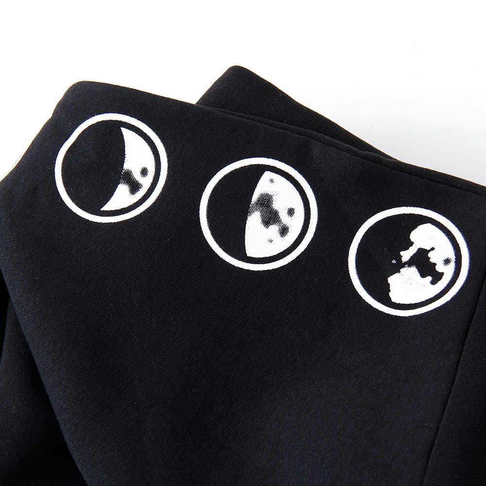 2019 Готическая Женская Толстовка Повседневная с длинным рукавом с капюшоном на молнии толстовки с капюшоном женский джемпер женские спортивные костюмы с капюшоном