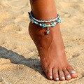 Браслеты FNIO Многослойные женские, анклет с ракушками и бусинами в виде морской звезды, богемные ювелирные изделия ручной работы для ног, Под...