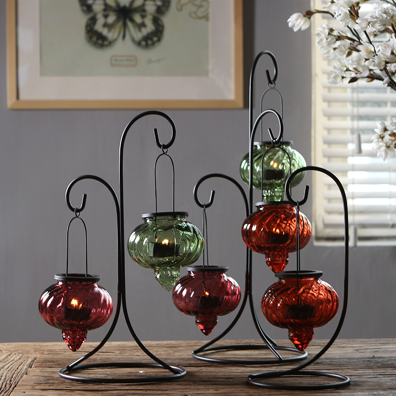 PINNY European Romance Iron Candlestick Hanging Glass Candle Holders Lanterns For Candles Wedding Gift Tabletop Decor Candelabra in Candle Holders from Home Garden