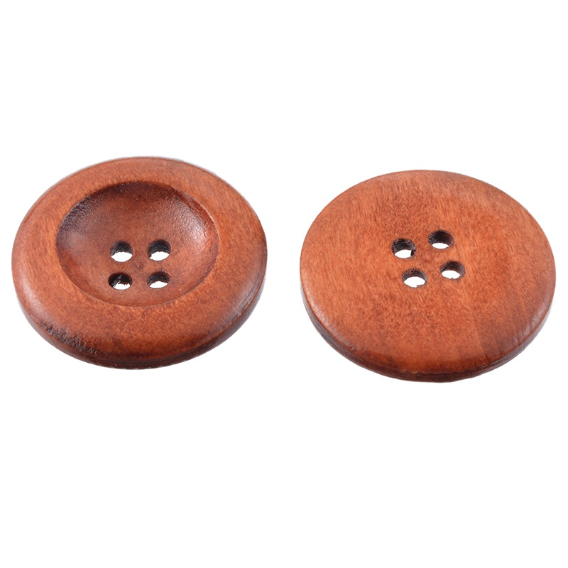 """Dia. 50PCs Coffee 4 Holes Round Wood Sewing Buttons 30mm 1 1//8/"""""""