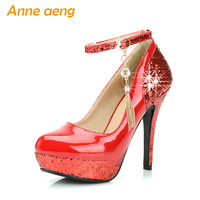 women pumps high heel platform wedding shoes sequined cloth shining bridal shoes sex ladies party shoes red black women shoes