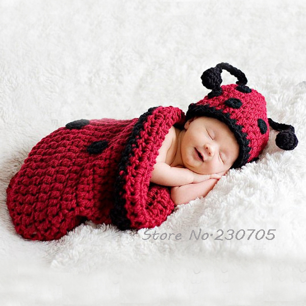 Supper cute newborn baby infant ladybug hat sleeping bag costume photography props animal costume 0