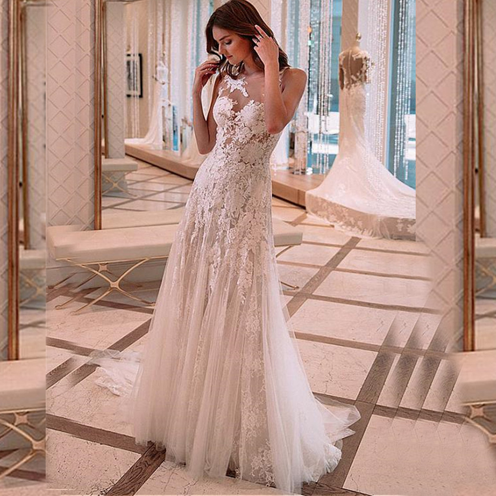 Sexy Mermaid See Through Wedding Dresses Illusion High Neck Lace Applique Wedding Bridal Gowns Floor Length Vestide De Noiva