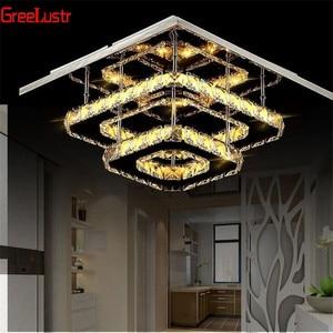 Image 2 - K9 Kristallen Plafondlamp Armatuur Moderne Kroonluchter Lustres Led Plafond Voor Trap Hal Indoor Thuis Plafond Lampen Luminaria