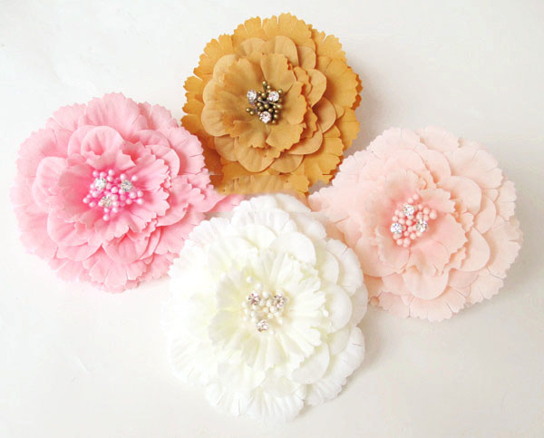 artificial flowers head Simulation with diamond camellia fake flowers DIY flower decoration felt flower hair accessories camelli