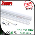 T5 led tube light 1200mm 18W, AC85-265V, 4pcs free shipping