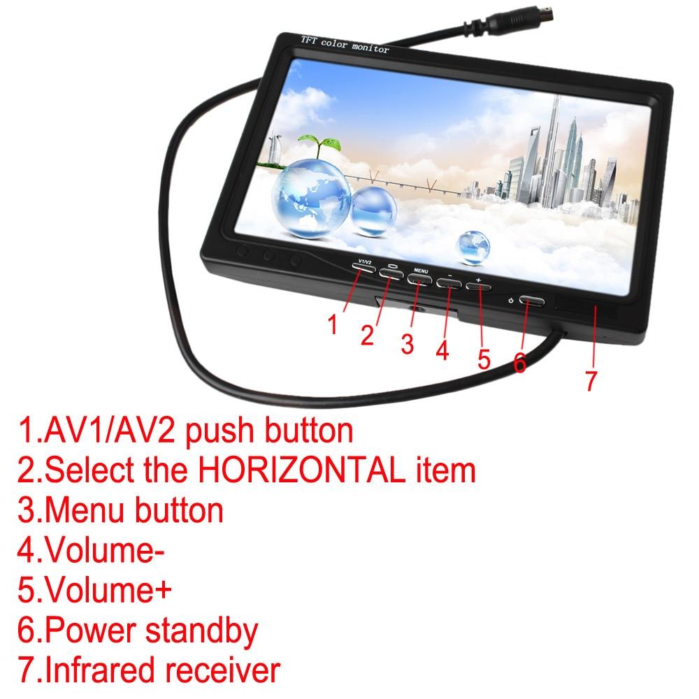7 zoll 2CH HD 800*480 TFT Farbe Lcd-bildschirm Auto Rückansicht Kamera Monitor für Rückfahr Kamera auto Parkplatz Backup Reverse Monitor